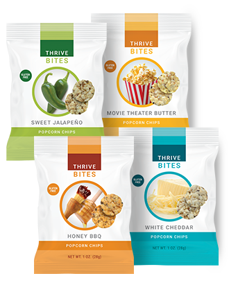 THRIVE BITES Popcorn Chips product packaging